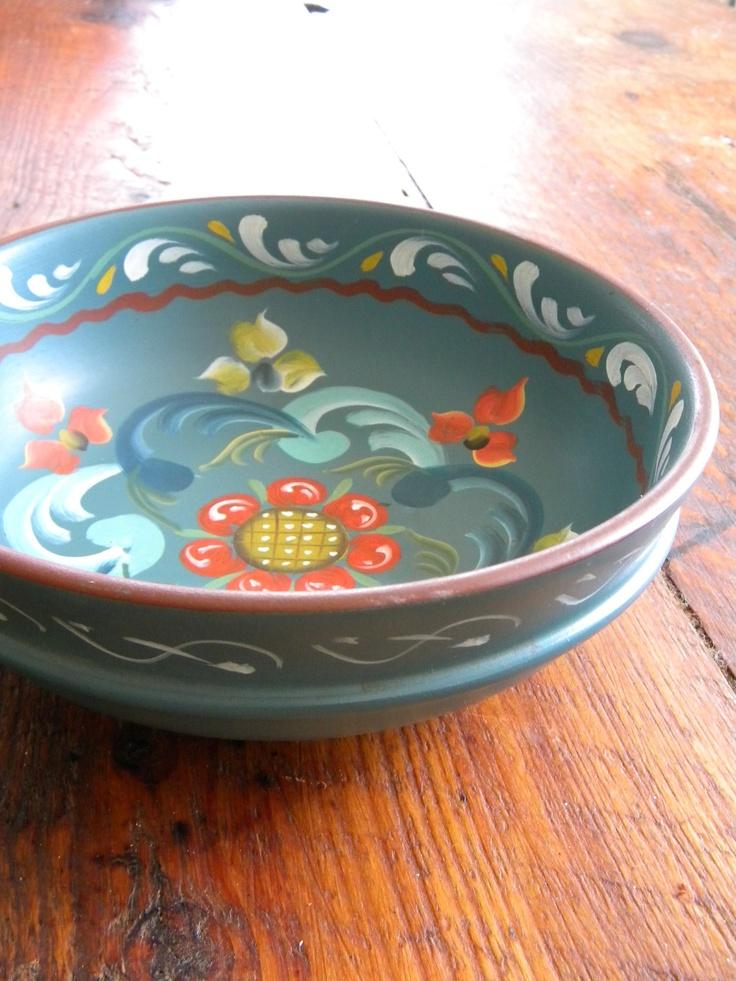 Lovely Blue Rosemaled  Wooden Norwegian Bowl