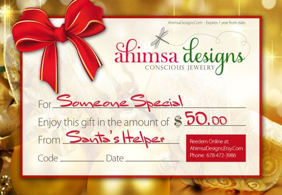 Personalized HOLIDAY GIFT CERTIFICATE 50 Dollars  by AhimsaDesigns