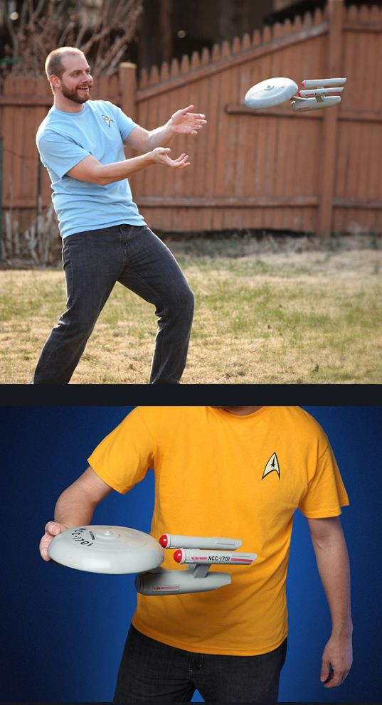 The Star Trek NCC-1701 U.S.S. Enterprise frisbee started out as an April Fools joke, but thanks to Think Geek, it's now a product that actually exists.