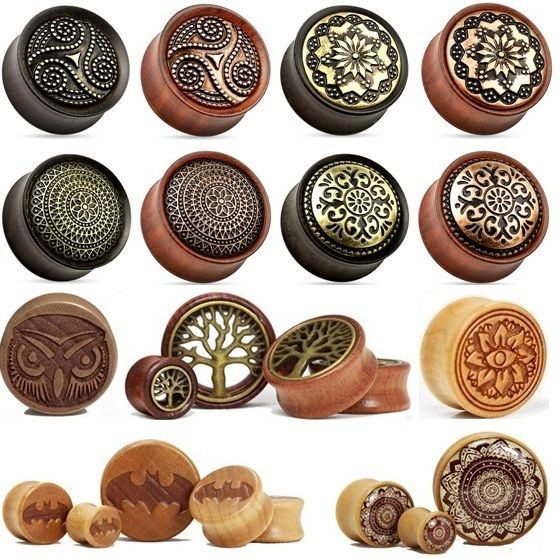Wooden Ear Plug - Choose Design & Size - Wood Flesh Tunnel Stretcher Expander
