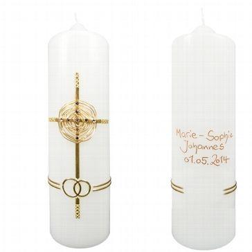 """Hochzeitskerze """"Kristall-Kreuz"""" personalisiert"""