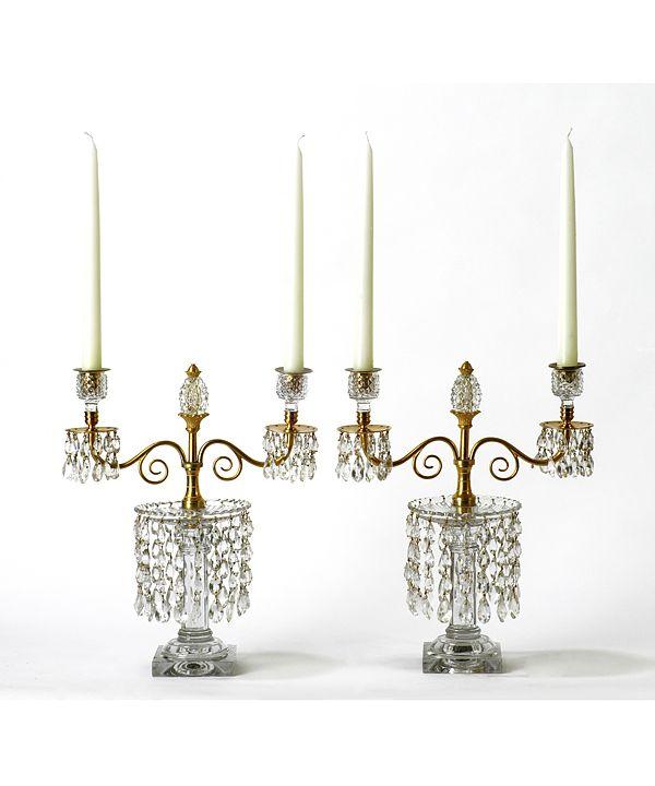 Elegant Table Accessories A Pair Of Georgian Cut Glass And Ormolu Lustres Having