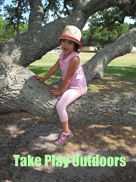 """Take Play Outdoors"": a comprehensive blog post on outdoor play ideas with nice pics and tons of links! 5 stars!"