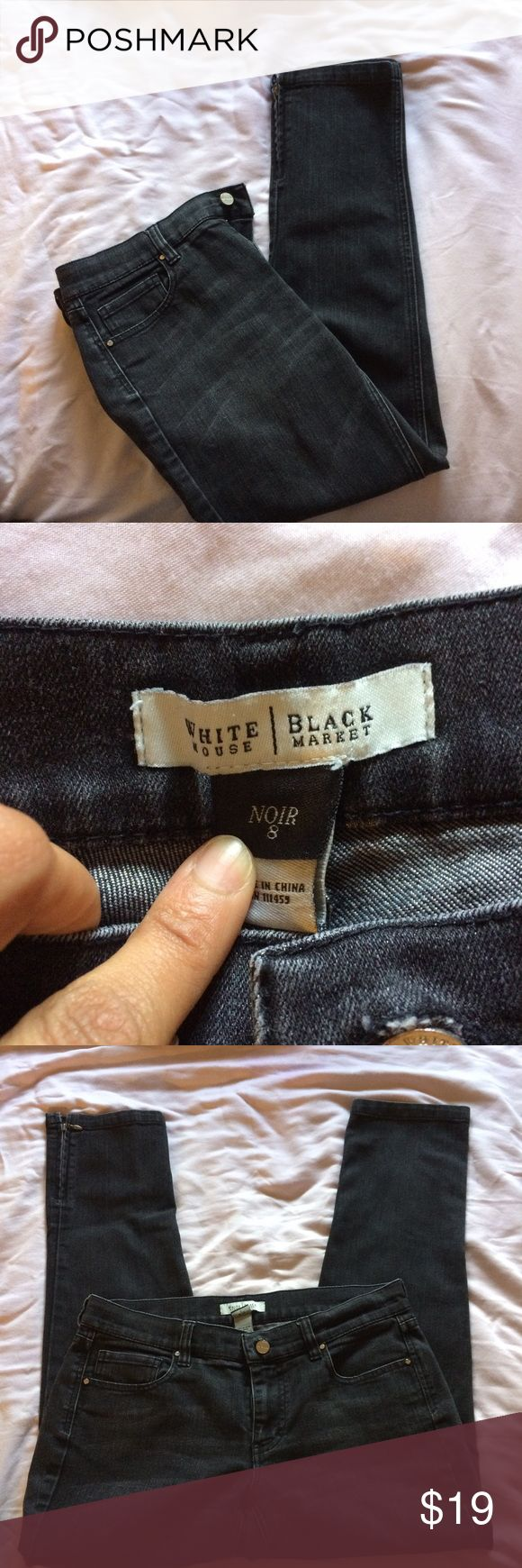 SALE WHBM black/grey jeans w/zipper detail White House black market black/dark grey jeans. Size 8R has zipper detail on each side of the pants. Fitted pant legs. Perfect condition women clothes. Sale cheap. No flaws would look great with heels and a sweater White House Black Market Pants