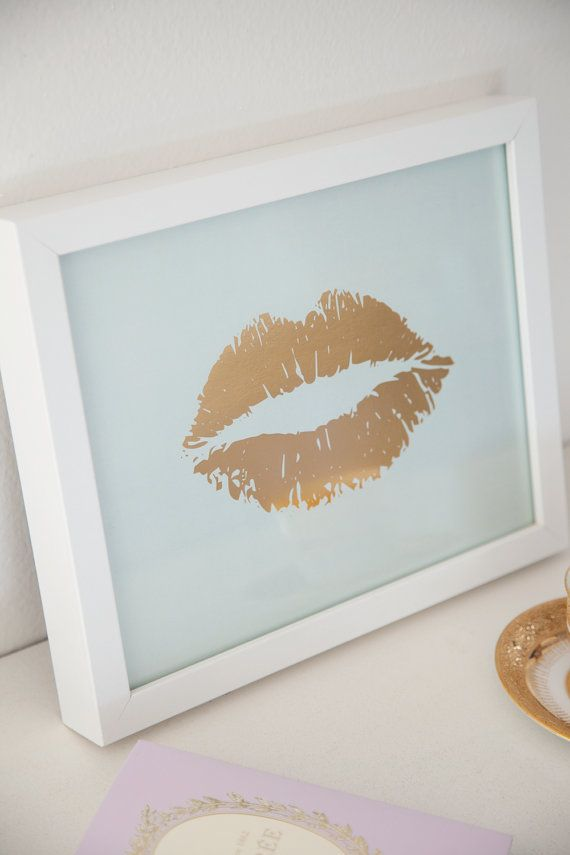 Gold Foil and Mint Lip Print 8x10 by Taryn St. Michele, $27.00 Gold Foil, Art, Wall Decor, Metallic, Kiss, Lips, Home Decor, Gold, Letterpress, Mint, Mint Green, Pastel, Metal, Decoration, Home Office, Office Decor, Gift, Display, High Fashion, Girl's Room, Bedroom, Living Room, Pucker, Lipstick, French Kiss, Lip Print, Etsy, Shopping