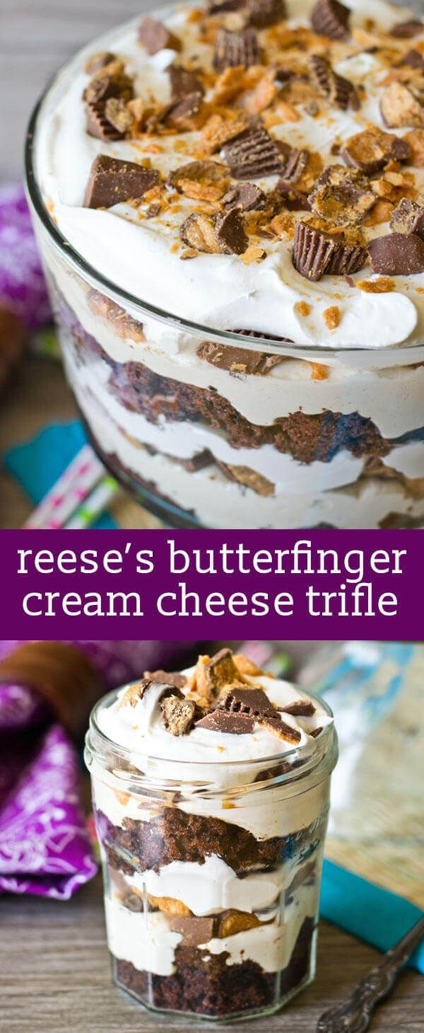 This Reese's Butterfinger Cream Cheese Trifle has an Oreo cake layered with fluffy cream cheese filling and chopped up Butterfinger and Reese's cups. via @tastesoflizzyt