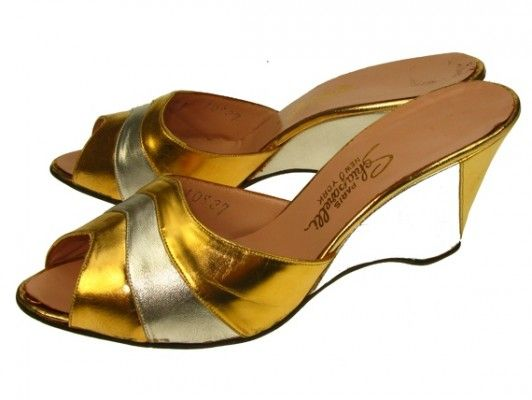 Elsa Schiaparelli 1950s gold and silver wedge shoes