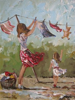 """""""Hanging the washing out"""" by Lorna Millar"""