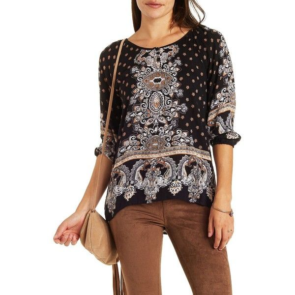 Charlotte Russe Black Combo Boho Print Peasant Top by Charlotte Russe... (38 CAD) ❤ liked on Polyvore featuring tops, blouses, black combo, bohemian blouses, peasant tops, paisley blouse, black peasant blouse and black blouse