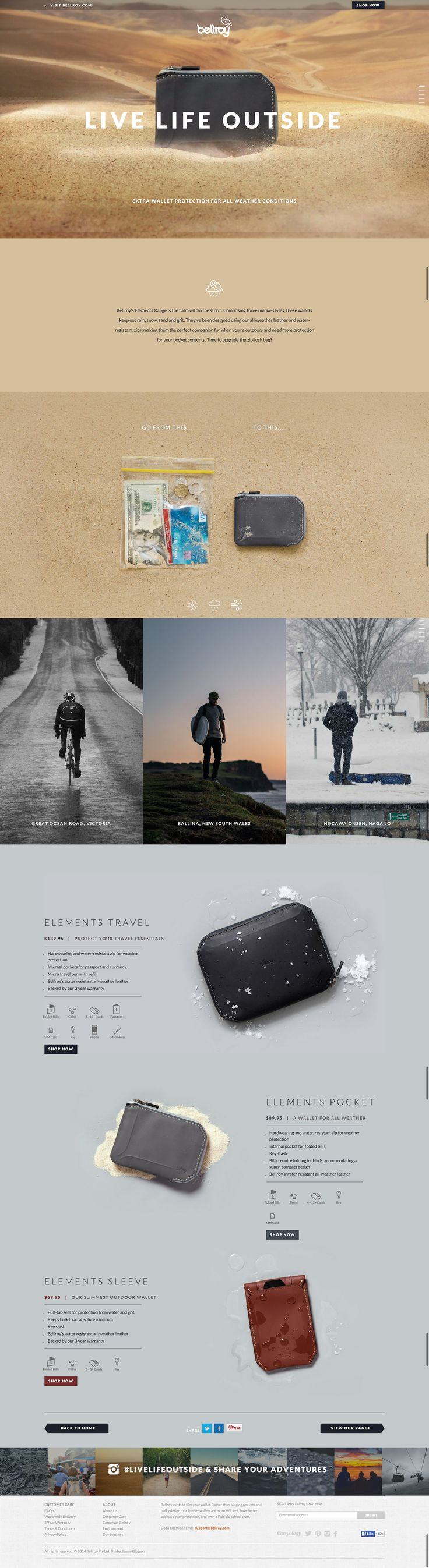 Unique Web Design, Bellroy #WebDesign #Design (http://www.pinterest.com/aldenchong/)