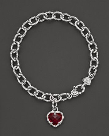 Judith Ripka Sterling Silver Single Heart Charm Bracelet with Lab-Created Red Corundum | Bloomingdale's
