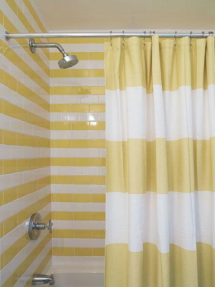 Stripe Shower Curtain by West Elm in a Bathroom by Harry Heissmann + Element Design Group