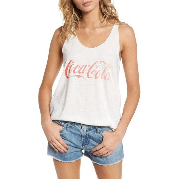 Women's Junk Food Coca Cola Classic Tank ($48) ❤ liked on Polyvore featuring tops, aire, white tops, white tank, white tank tops, logo top and junk food clothing