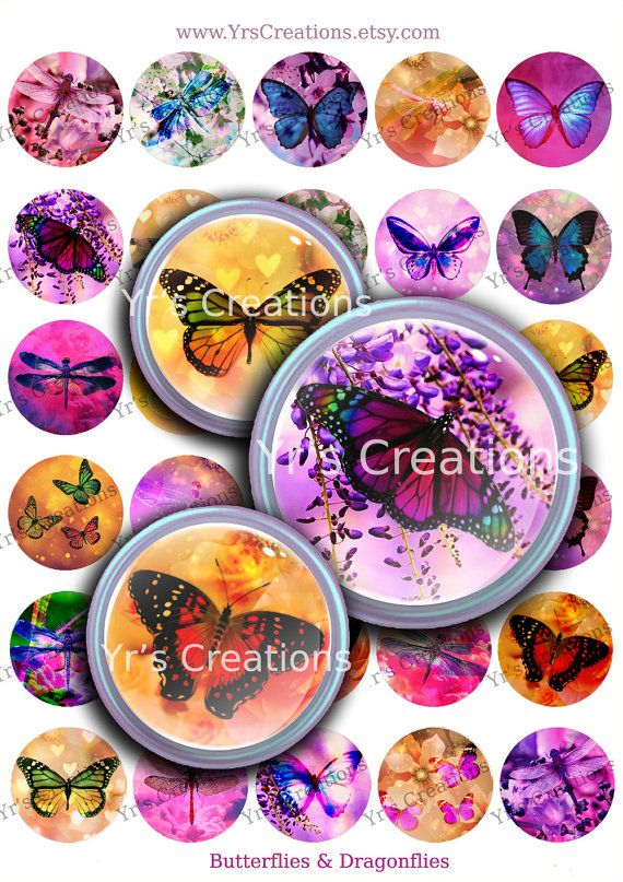 Digital Print Butterflies and Dragonflies 1.5 inch circle - Printable Digital Collage Sheet - Images for Pendants, Stickers, Art,Mixed Media