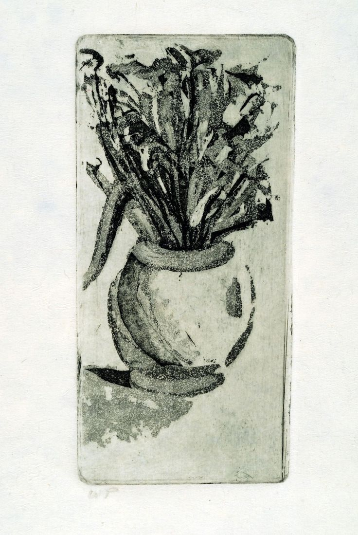 Original Fine Art Etching, Vase with flowers by papermaker on Etsy