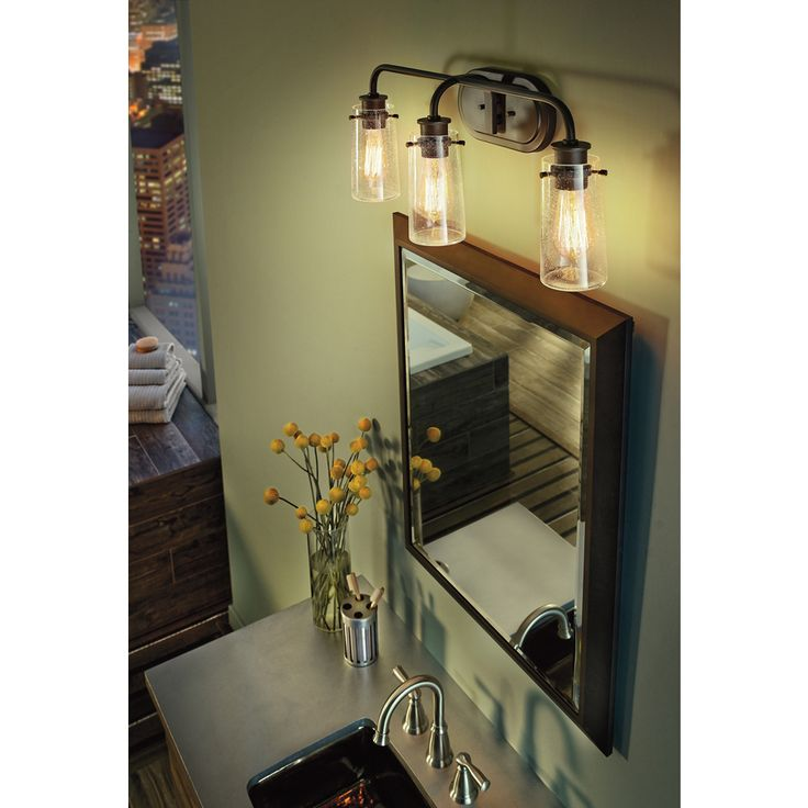 kichler bathroom mirrors shop kichler lighting 3 light braelyn olde bronze bathroom 13303