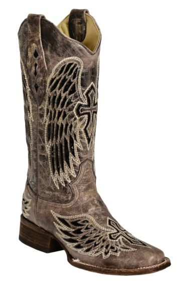 ✰ Corral Black Sequin Wing  Cross Inlay Cowgirl Boots - Square Toe - Sheplers