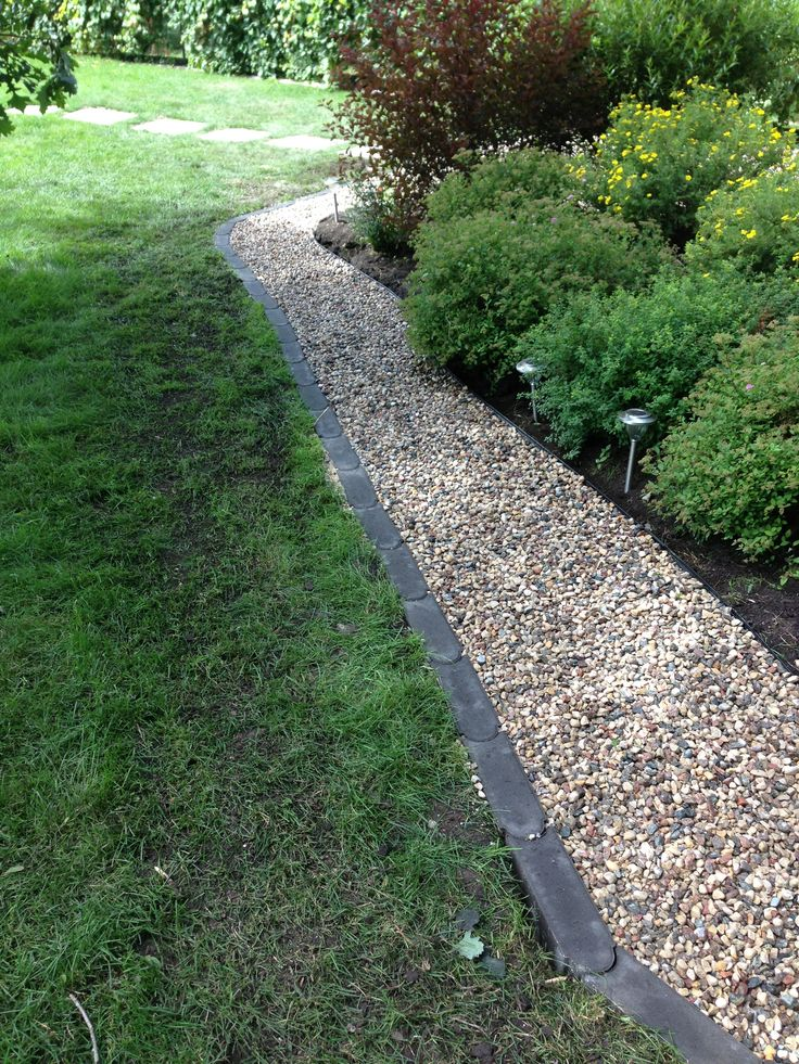 Bullet Edgers And River Stone To Outline A Garden Area