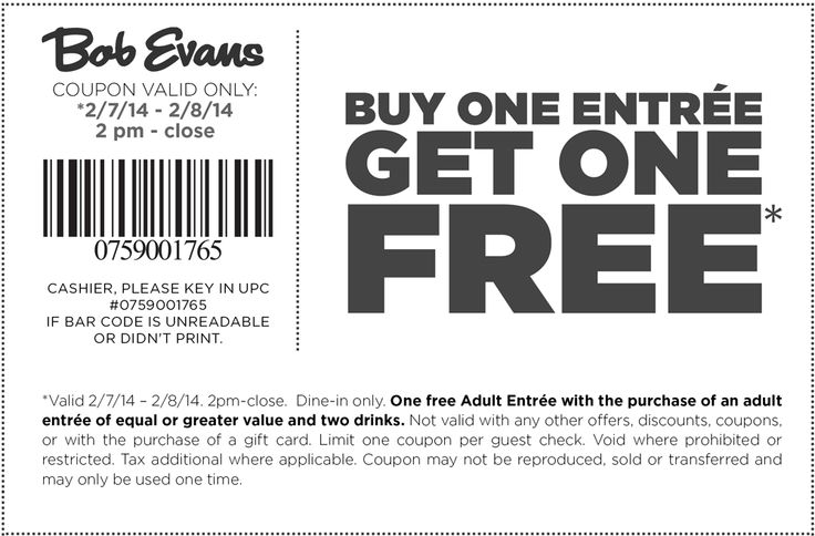 Pinned February 7th Second Entree Free At Bob Evans Coupon Via The Coupons App Bob Evans Printable Coupons Coupons