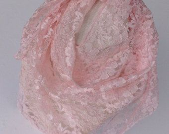 Pastel Pink lace scarf, Pink bandana, Gift for Wife, Birthday girl gift, Pink Headcover Holiday Gift, Cancer pink month, Gift for coworker by blingscarves. Explore more products on http://blingscarves.etsy.com