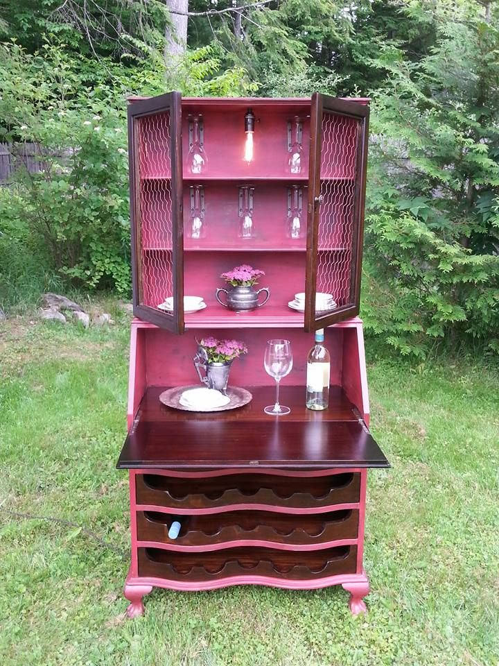 Antique secretaries desk repurposed into a wine bar by Little Yellow Shed Vintiques.
