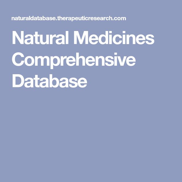 Natural Medicines Comprehensive Database