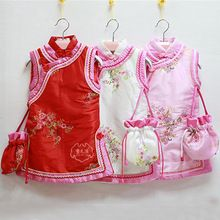 Elegant Baby Girl Cheongsam Cotton Padding Dresses for Girls Christmas Costumes for Girls Children's Clothing and Accessories(China (Mainland))