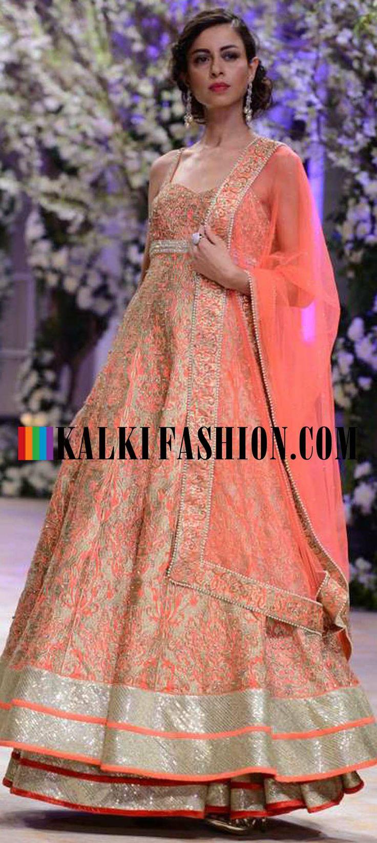 http://www.kalkifashion.com/designers/jyotsna-tiwari.html Urnashi Rautela and other models walk the ramp for Jyotsna Tiwari at Indian Bridal Week NOV 2013 at Mumbai 52