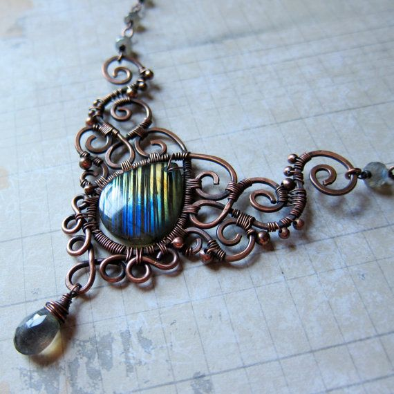 Hecate Enthroned - Magical Rainbow Labradorite Necklace