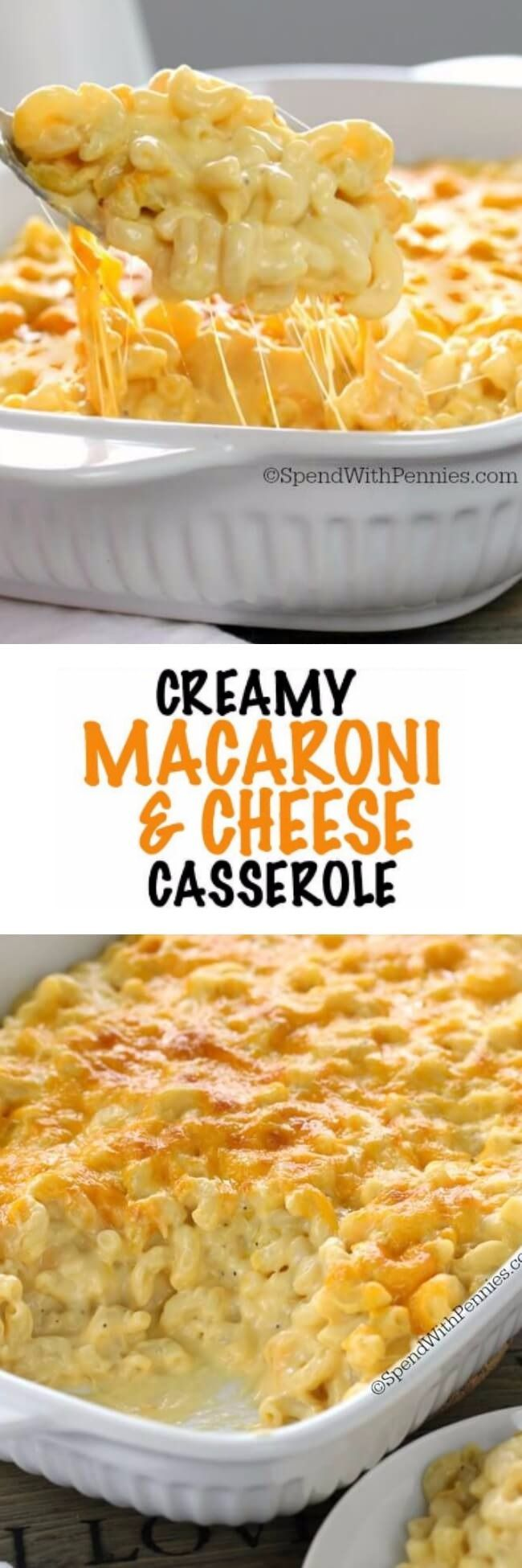 This Creamy Macaroni and Cheese Casserole is a show stopper! Not only is this mac and cheese recipe easy to make it has a special ingredient making it extra delicious!  This dish has so much velvety cheese in a quick homemade sauce