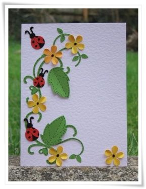 A Fitting Occasion stamp set from Stampin' Up! has a sweet little ladybug that I think would work for this card. Judi Carpenter