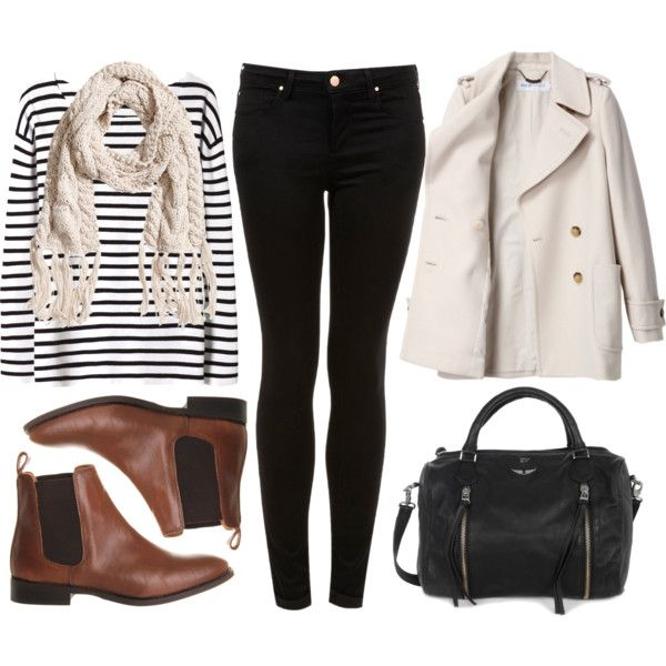 black and white striped shirt, black skinny jeans, trench coat, black bag, brown leather Chelsea ankle boots, cream scarf                                                                                                                                                      More