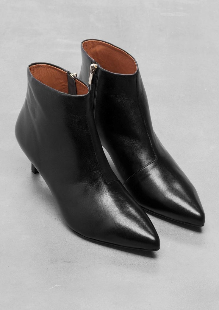 & Other Stories Kitten Heel Leather Ankle Boots Black