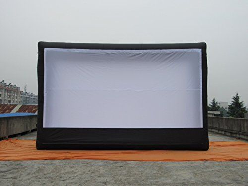 20ft X 10ft (viewing area). Front and Rear Projection. Huge Inflatable Movie Screen, Complete w/ Blower(s), Accessories, and Patches. Front or Rear Projection. Lightwieght, Sturdy, Water Resistant Oxford Cloth Construction. Complete with Blower, Accessories, and Patches. 20ft X 10ft Viewing Area. ...other sizes available. 1080p Projection Aspect Ratio.
