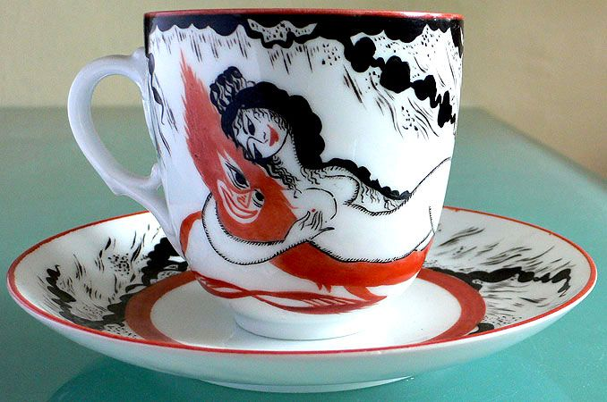 "Soviet Propaganda ""Woman and Devil"" Porcelain Cup & Saucer 1921"