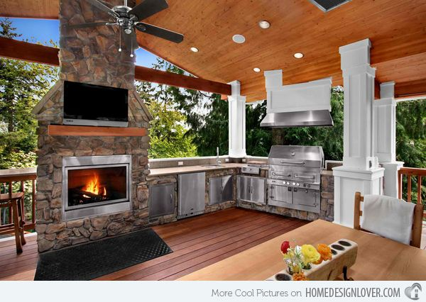 External bbq inspiration, stone featured area - Found on homedesignlover.com