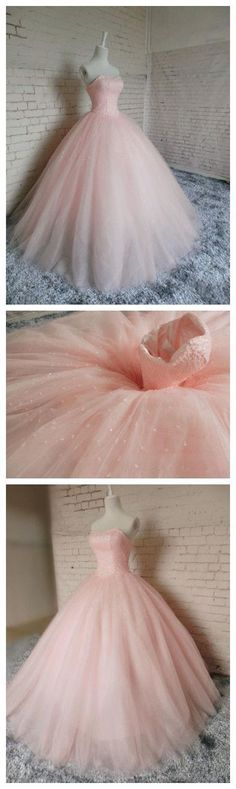 Amazing New Pink Ball Gown Beading Prom Dress,Long Prom Dresses,Charming Prom Dresses,Ev…