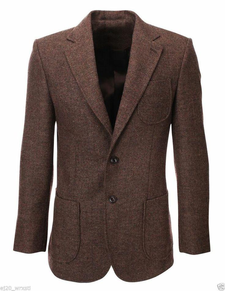 FLATSEVEN Mens Herringbone Wool Blazer Jacket with Elbow