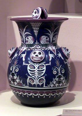 Vase by mexican ceramic artist Jorge Wilmot. Love the skeleton motif.