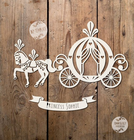 COMMERCIAL USE Princess Carriage Design. Papercutting/Vinyl Template to cut yourself in SVG and PDF format.  Small Business Commercial Licence Included!!!   *****ITEM DESCRIPTION*****   - A perfect design for hand or machine paper cutting! Digitally traced from an original hand-drawing. The design includes a banner for you to personalise.   - This item is a digital file, no physical item will be mailed. Once payment is confirmed you can download the files on the Purchases and Reviews sec...