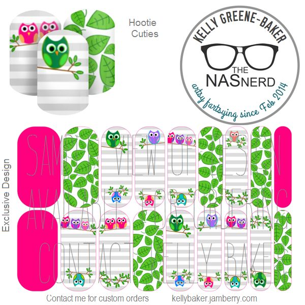 Hootie Cuties inspired~ Get the Look without the polish! Contact me @ Kelly Loves Jam on Facebook or email me bluegodiva@yahoo.com if interested in designing/ordering a custom nail art studio sheet of your own . Curious about Jamberry's 350+ ready-to-go catalog wrap designs, lacquer or gel enamels? Head to kellybaker.jamberry.com ~ DIY nail art, owls, leaves, pink, green, stripes, owlets