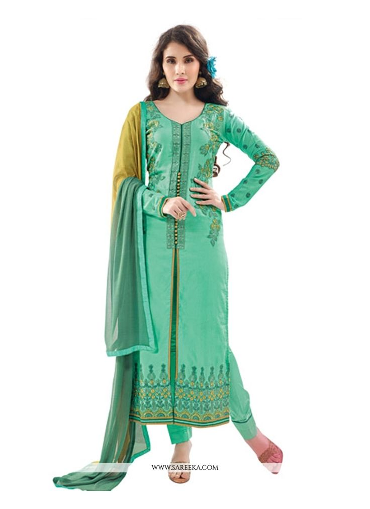 Unique elegance will come out from your dressing trend with this sea green cotton satin designer suit. The embroidered and resham work looks chic and excellent for any affair. Comes with matching bott...