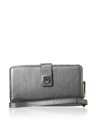 55% OFF LODIS Women's Saffiano Leather Tech Wallet, Pewter