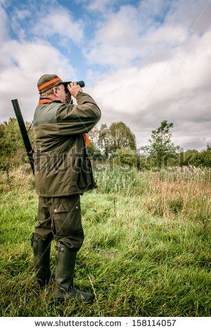 Hunter Looking Through Binculars Assisted By His Dog Lagerfoto 158114057 : Shutterstock