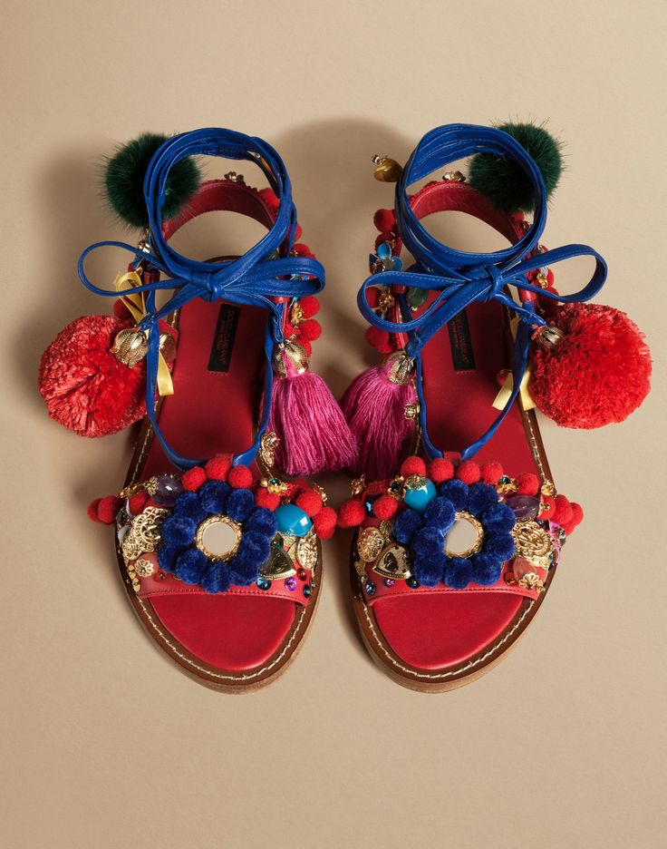 Slave sandal in napa leather with pompoms   dolce&gabbana online store