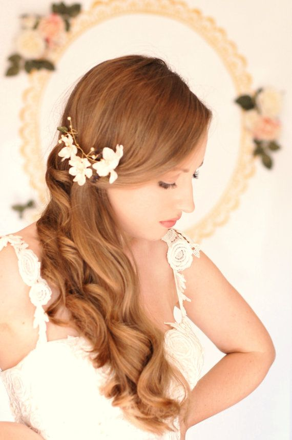 Bridal floral head piece Ivory and green LIMITED by AnnaMaguerite