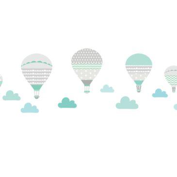 Ballonok falmatrica – szürke-menta