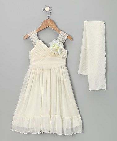 Loving this Ivory Flower Babydoll Dress & Shawl - Toddler & Girls on #zulily! #zulilyfinds