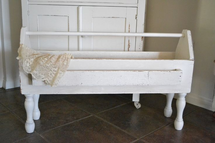 White Old Tool Box #2 with spindle legs, coming to the Vintage Marketplace.