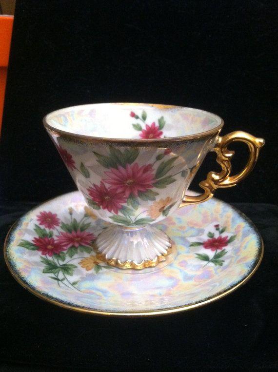 Vintage September Aster Tea Cup and Saucer Set by KittieCatKorner, $16.99
